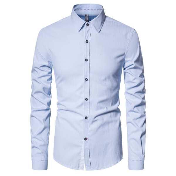 Elegante camisa sencilla de algodón para hombre