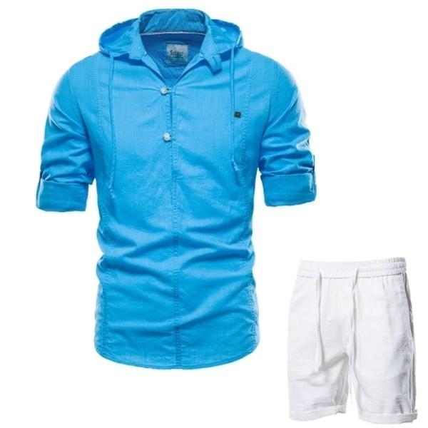 Cotton linen shirt set with men's shorts hood