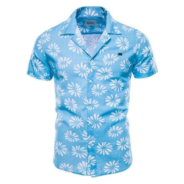 Algodón Lin flores estampadas camisa de hombre