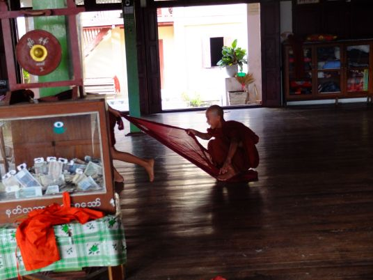 Monks playing after school