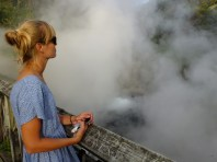 Hot waters erupt from the ground and fill the air with a mix of smoke and rotten egg smell...nice. Chanel n 5, prepare!