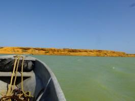 Arriving in Punta Gallinas by boat.