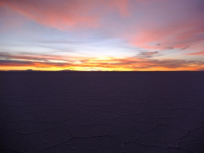 Rising sun on the salar.