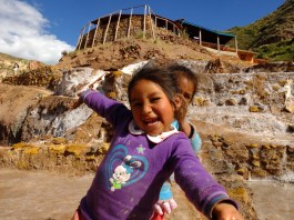 Girls making salt castles