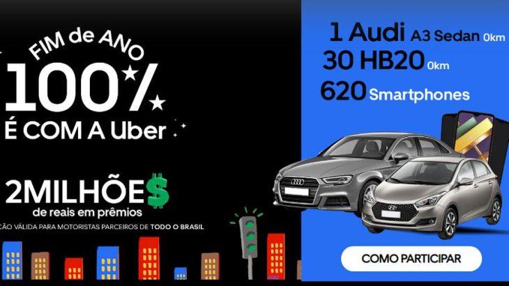Promoção Motorista Uber Fim de Ano 100%: Concorra a Carros e Smartphones