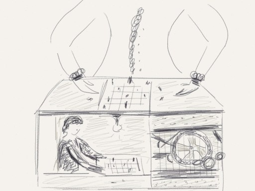 My sketch of a Mechanical Turk.