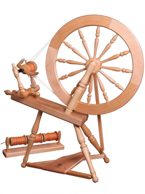 """This is my wheel, plus the """"lazy kate"""" to hold the bobbins for plying."""