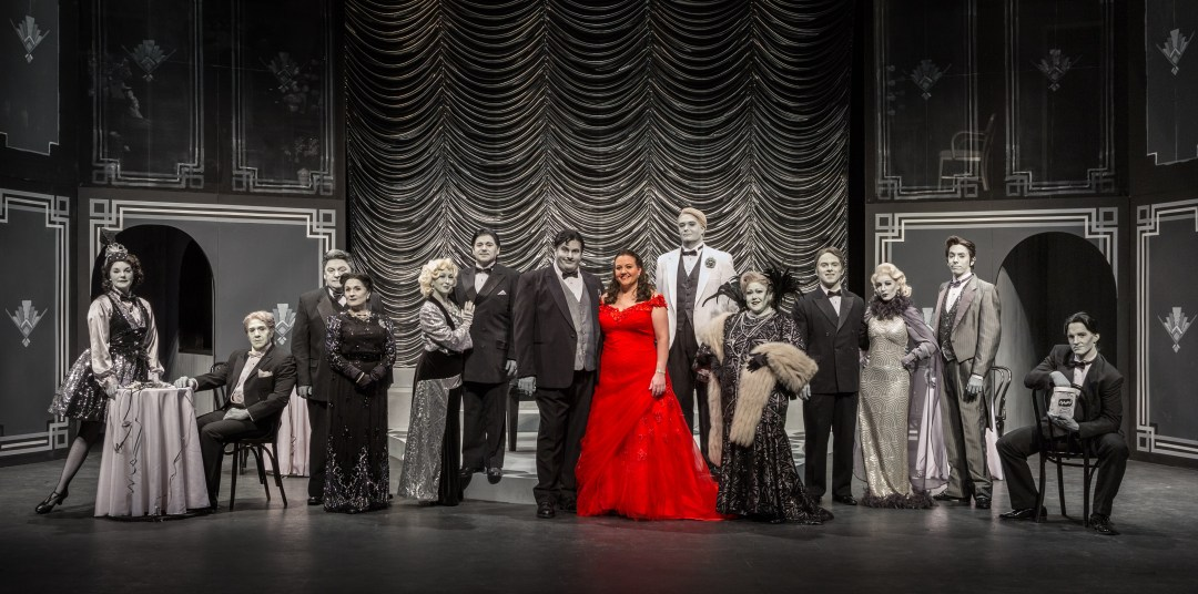 "The cast of ""A Minor Case of Murder!"" with the Lady in Red (Stephanie Felton). Photo by Alan Abair."