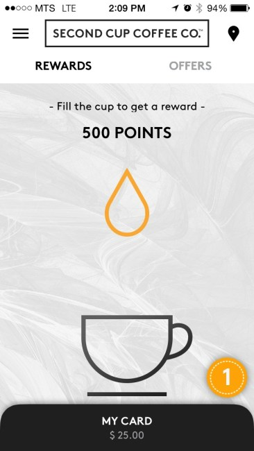 SecondCup Rewards App 1