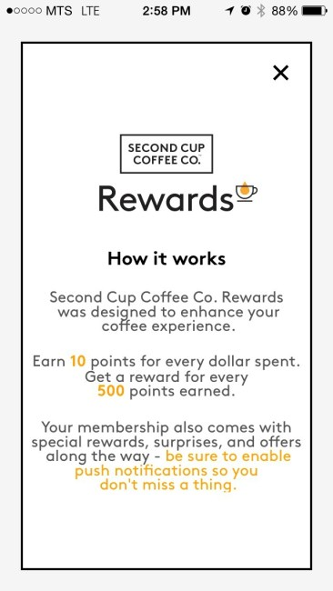 SecondCup Rewards App 2