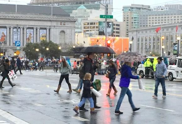 Walkers in Rain