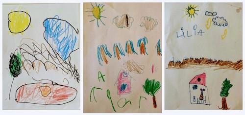 Instrucciones para el dibujo guiado dadas a tres niñas con 3 edades diferentes