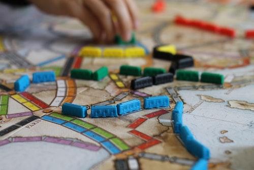 juego de mesa de trenes