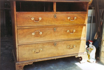 The washed out chest of drawers as it came in.
