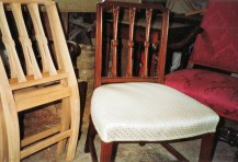 Partially constructed chair frames.