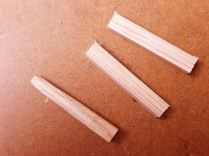 The pegs are riven from straight grained Oak.
