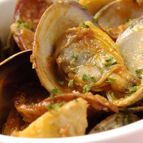 Manila Clams with Grilled Portuguese Water Bread by Chef Shaun Ursell of Bonfire Bistro