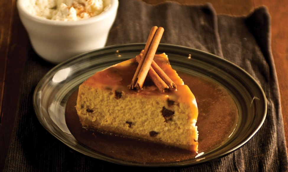 Chocolate Pumpkin Cheesecake with Caramel Sauce by Chef/co-owner Greg Anania of Bellissimo