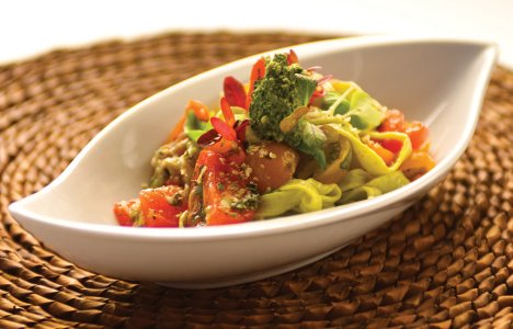 Hemp Pasta and Pesto with Roasted Tomatoes by Chef Ben Kramer of Dandelion Eatery