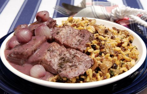 Matelote Bourguignon with Morvan Forest Orzo by Chef Blue Harland of Beaujena's