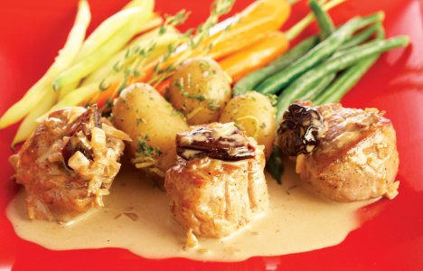 Pork Noisettes with Prune Armagnac Sauce by Chef/Owner Fern Kirouac of In Ferno's Bistro