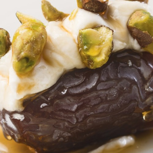 Medjool Date, Mascarpone, Maple Syrup, Pistachios by Chef Adam Donnelly of Segovia