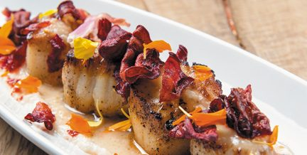 Sumptuous seared scallops with beet chips at chew.