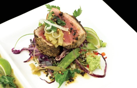 Six Peppercorn Seared Ahi with Wild Rice Pilaf and Green Tea Reduction by Chef Andy Arjoon of Coyote Cafe