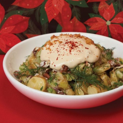 Potato leek salad with mornay sauce by Chef Chris Gama of Clementine