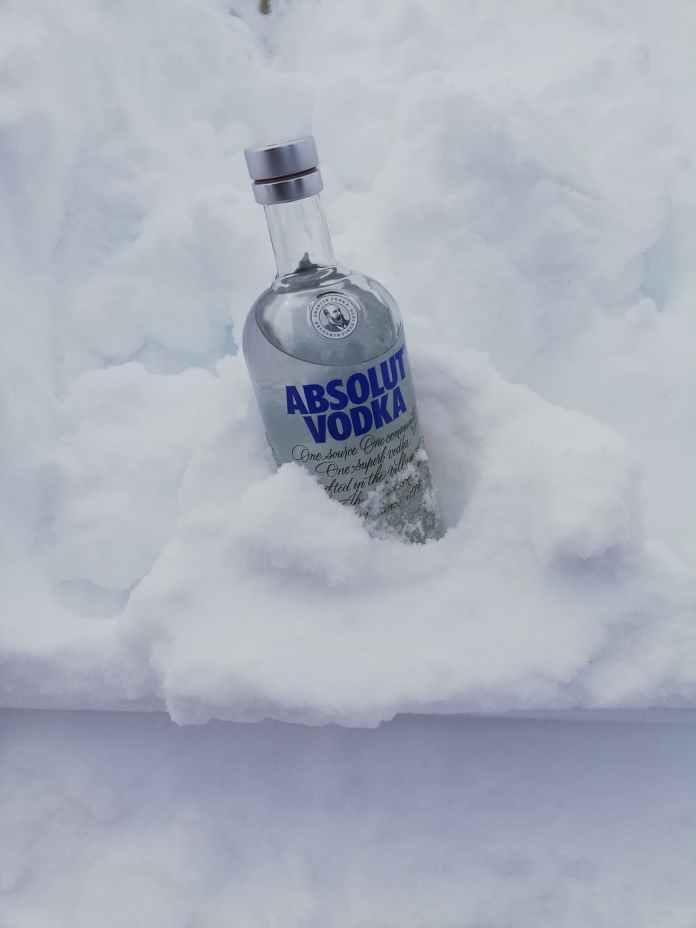 vodka bottle in the snow