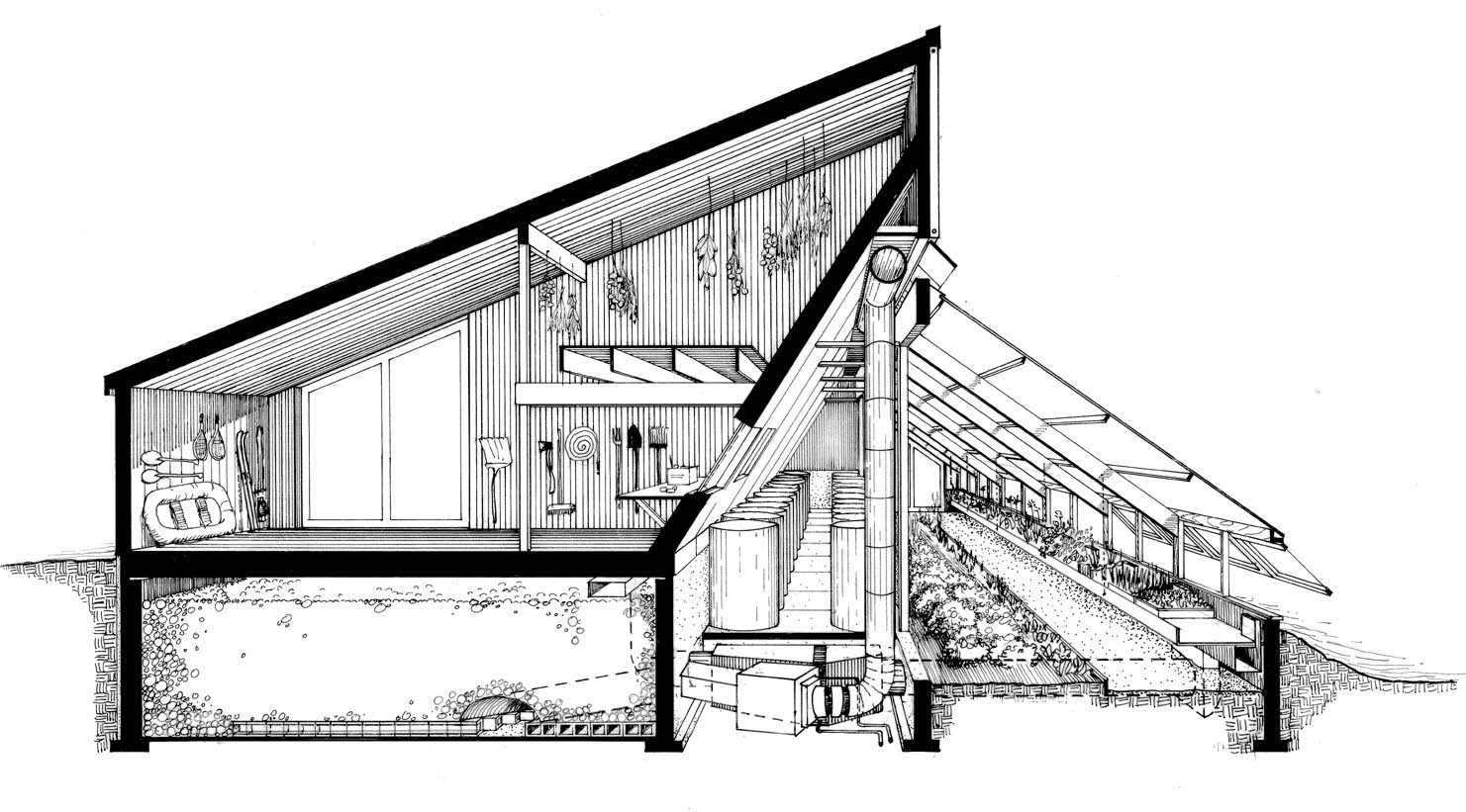 The Ark Section Perspective Of Barn Rock Heat Storage