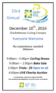 Reminder: 33rd annual Curl for Cancer goes Sat. at Charlottetown Curling Complex