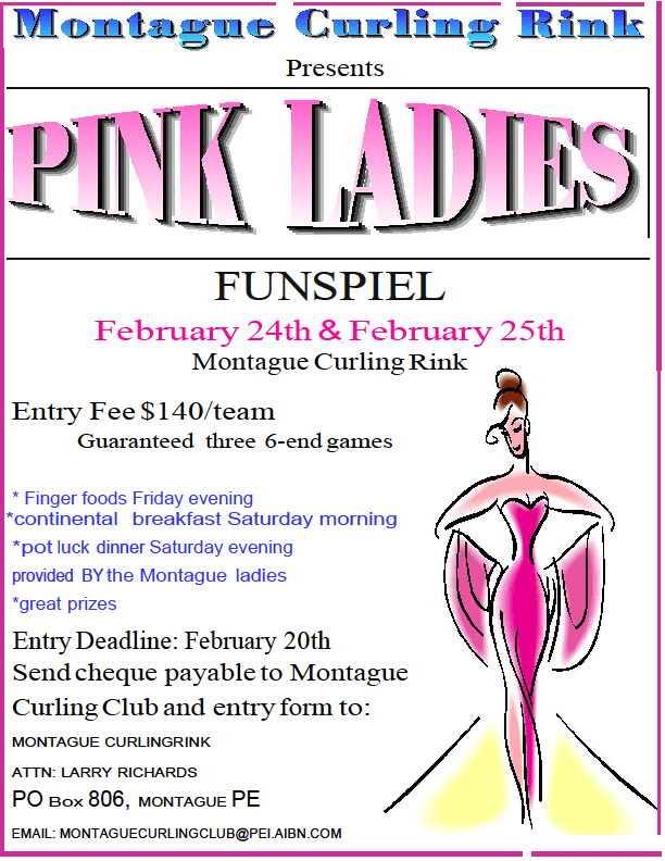 Pink Ladies women's funspiel @ Montague Curling Rink