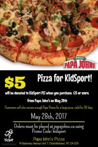 May 28 is Pizza Day for KidSport