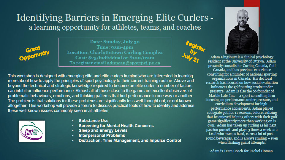 Identifying Barriers in Emerging Elite Curlers – Workshop with Adam Kingsbury @ TBA