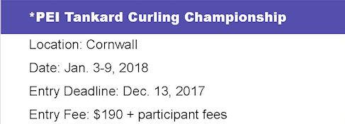 Entry Deadline: Tankard PEI Men's Ch'ship @ Cornwall Curling Club