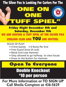 Annual One on One Tuff Spiel at the Silver Fox (Cancelled)