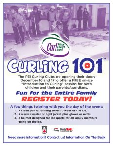 Reminder: Curling 101-FREE intro to curling for the entire family, coming up this weekend at PEI's 7 dedicated curling facilities