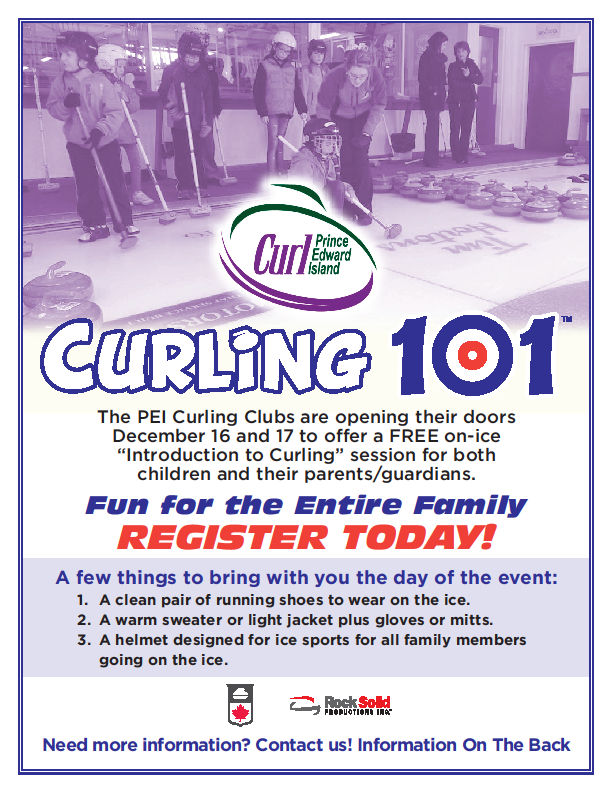 Curling 101: Free Intro to Curling session for the entire family at all 7 PEI curling clubs