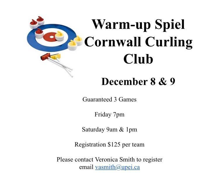 Veronica Smith team hosting Warmup Siel @ Cornwall Curling Club