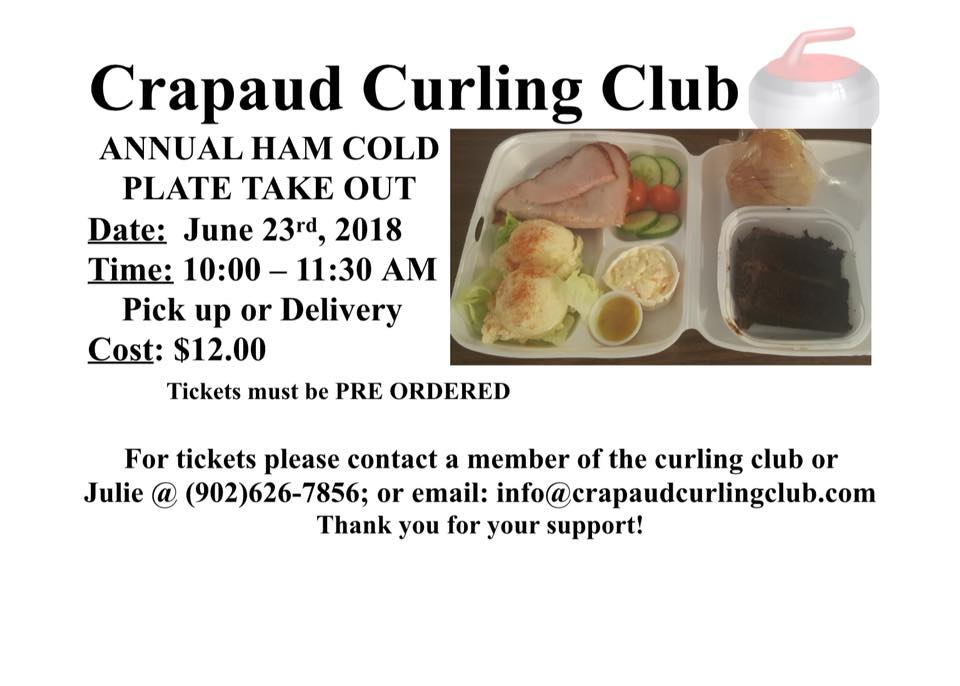 Ham Cold Plate Take Out fundraiser @ Crapaud Community Curling Club | Crapaud | Prince Edward Island | Canada