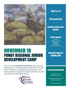 Junior Development Camp at the Amherst Curling Club on November 18