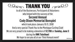 Organizers donating $7700 to IWK from Cody Dixon Memorial Bonspiel at Montague