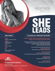 She Leads, with Heather Moyse, on Sept. 29