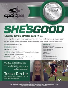"""""""She's Good"""" event on Sept. 28 for female athletes age 10-15"""