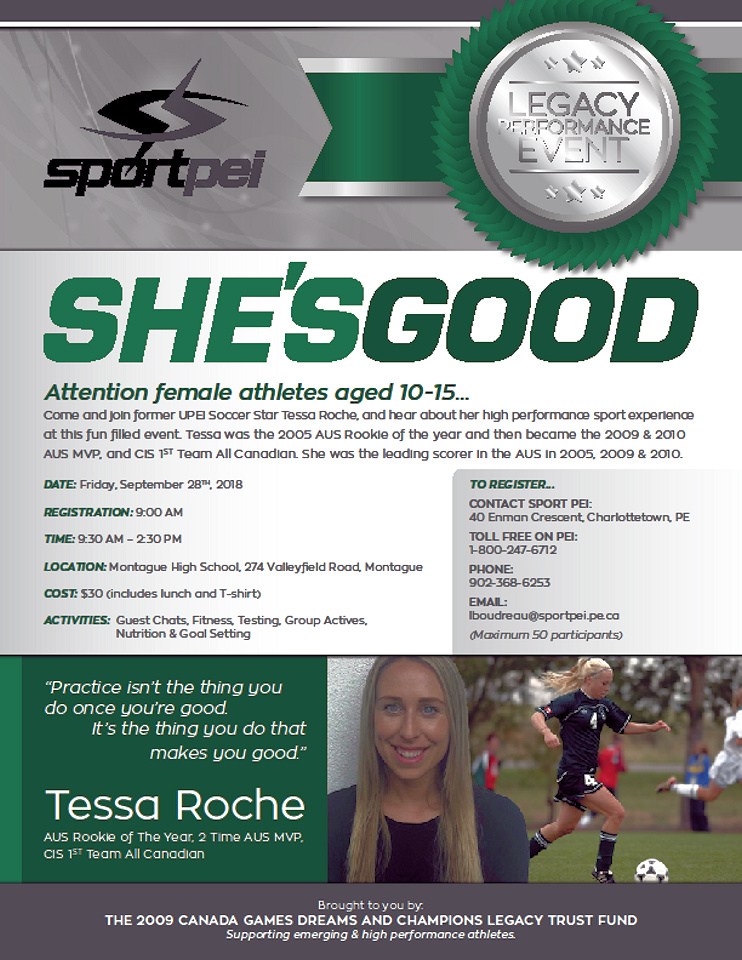 """""""She's Good"""" event for female athletes age 10-15 @ Montague High School 
