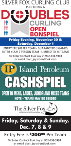 Silver Fox looking for more teams for Doubles Curling Open Bonspiel and Island Petroleum Cashspiel