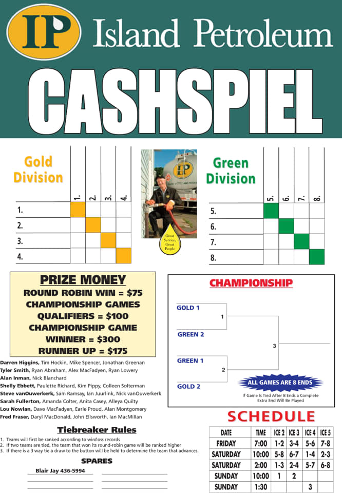 Island Petroleum Cashspiel at the Silver Fox: Team Rosters, Schedule, Payouts