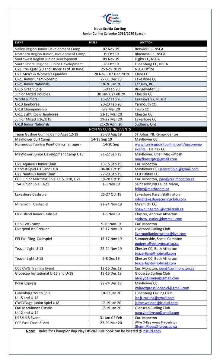 NS Curling's Junior Events Calendar | PEICurling com