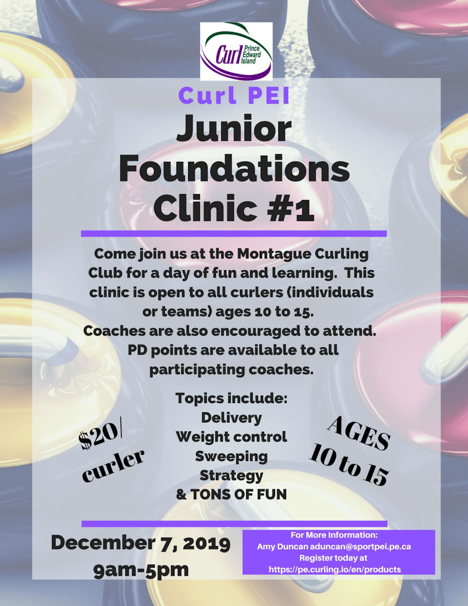 Junior Foundations Clinic for ages 10-15 @ Montague Curling Rink